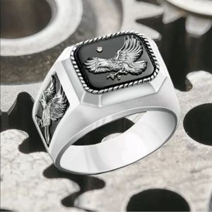 Personality Silver Eagle Ring Fashion Simple Men's